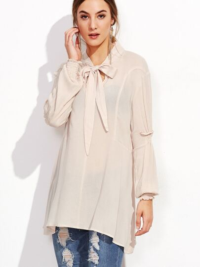 Apricot Bow Tie Neck Shirred Sleeve Blouse
