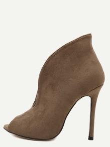 Chaussures à talon haut en suédé bout ouvert - kaki