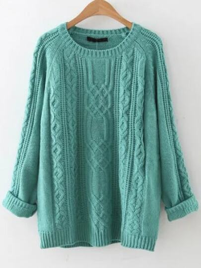 Blue Cable Knit Raglan Sleeve Sweater