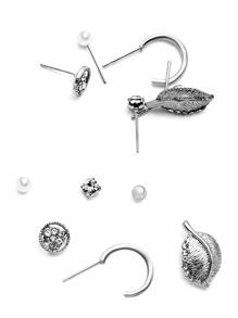 Silver Plated Multi Shape Stud Earrings Set