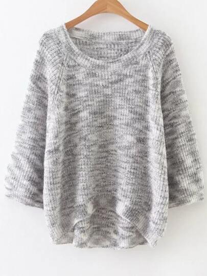 Grey Marled Knit Raglan Sleeve Dip Hem Sweater