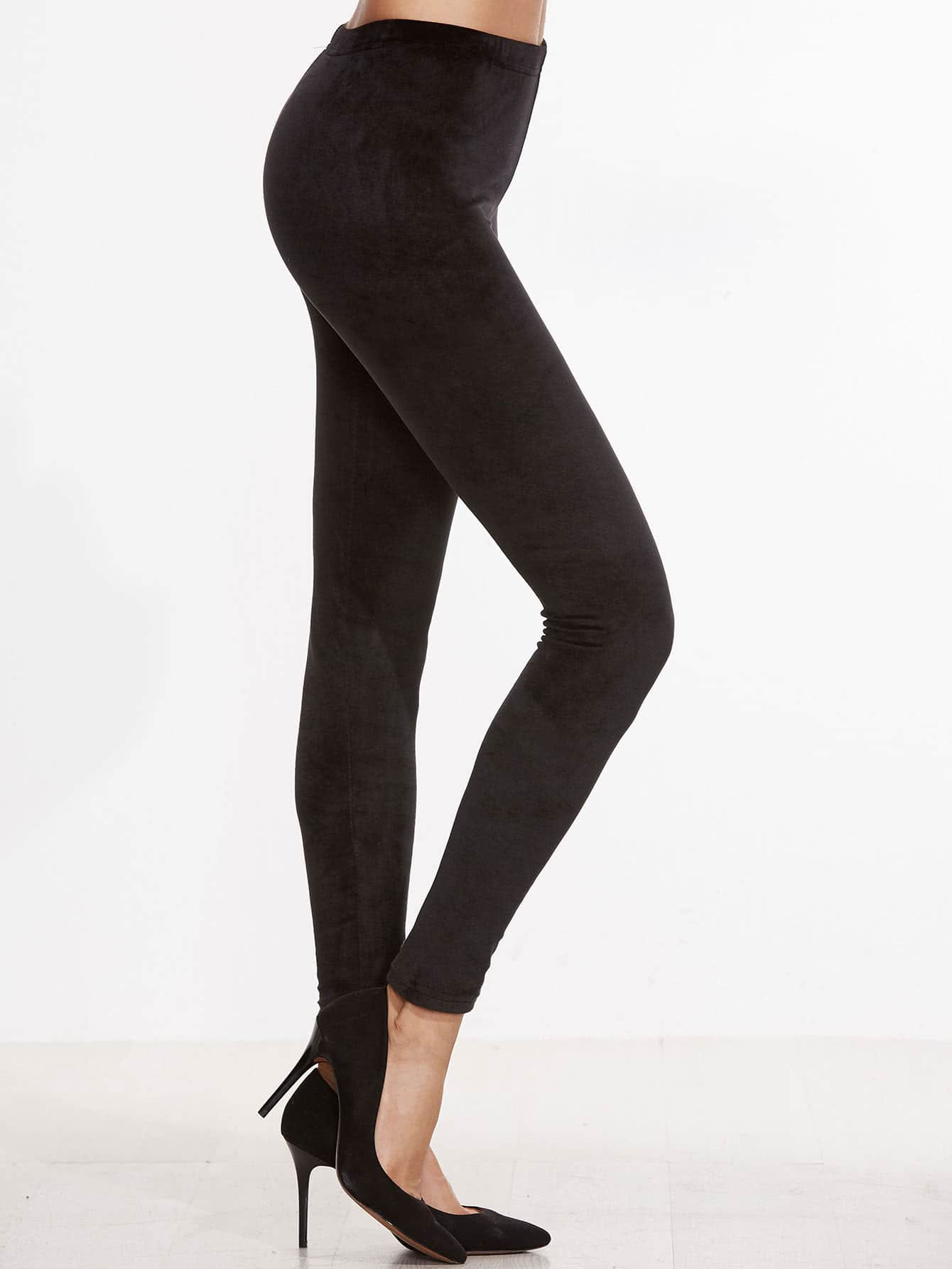 Black Velvet Skinny Leggings -SheIn(Sheinside)
