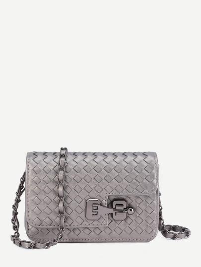 Mini Woven PU Flap Bag With Chain Strap