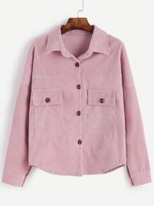 Pink Drop Shoulder Corduroy Shirt