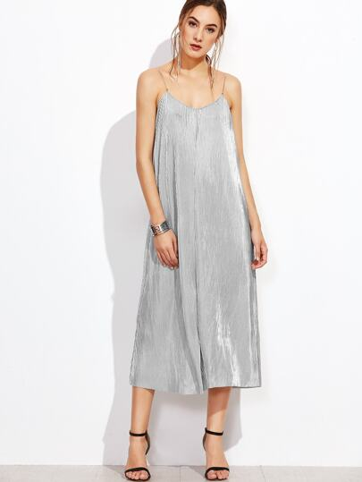 Metallic Pleated Slip Dress