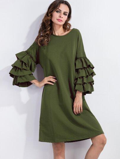 فستان موضة تي شيرت أخضر بكشكش