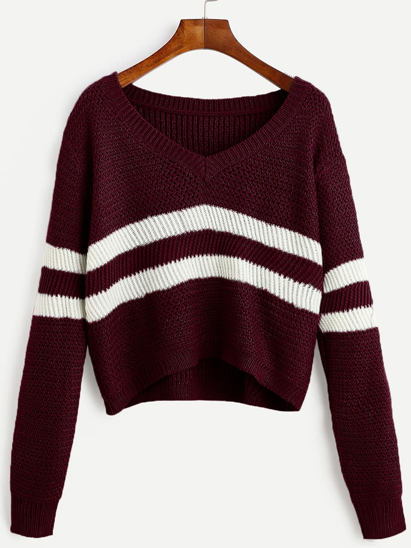 SheIn Burgundy Striped V Neck Crop Sweater
