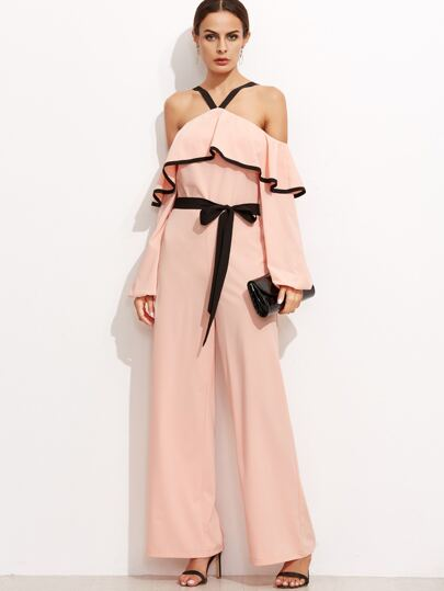 Pink Cold Shoulder Ruffle Jumpsuit With Self Tie