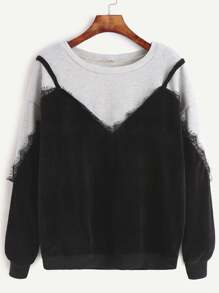 Lace Trim 2 In 1 Dropped Shoulders Sweatshirt