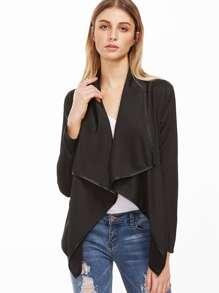 Black Shawl Collar Asymmetric Coat