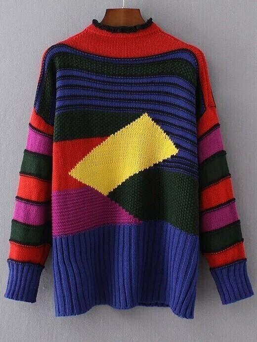 Color Block Crew Neck Ribbed Trim Sweater sweater161007207