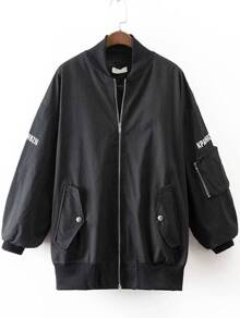 Black Letter Print Jacket With Pocket
