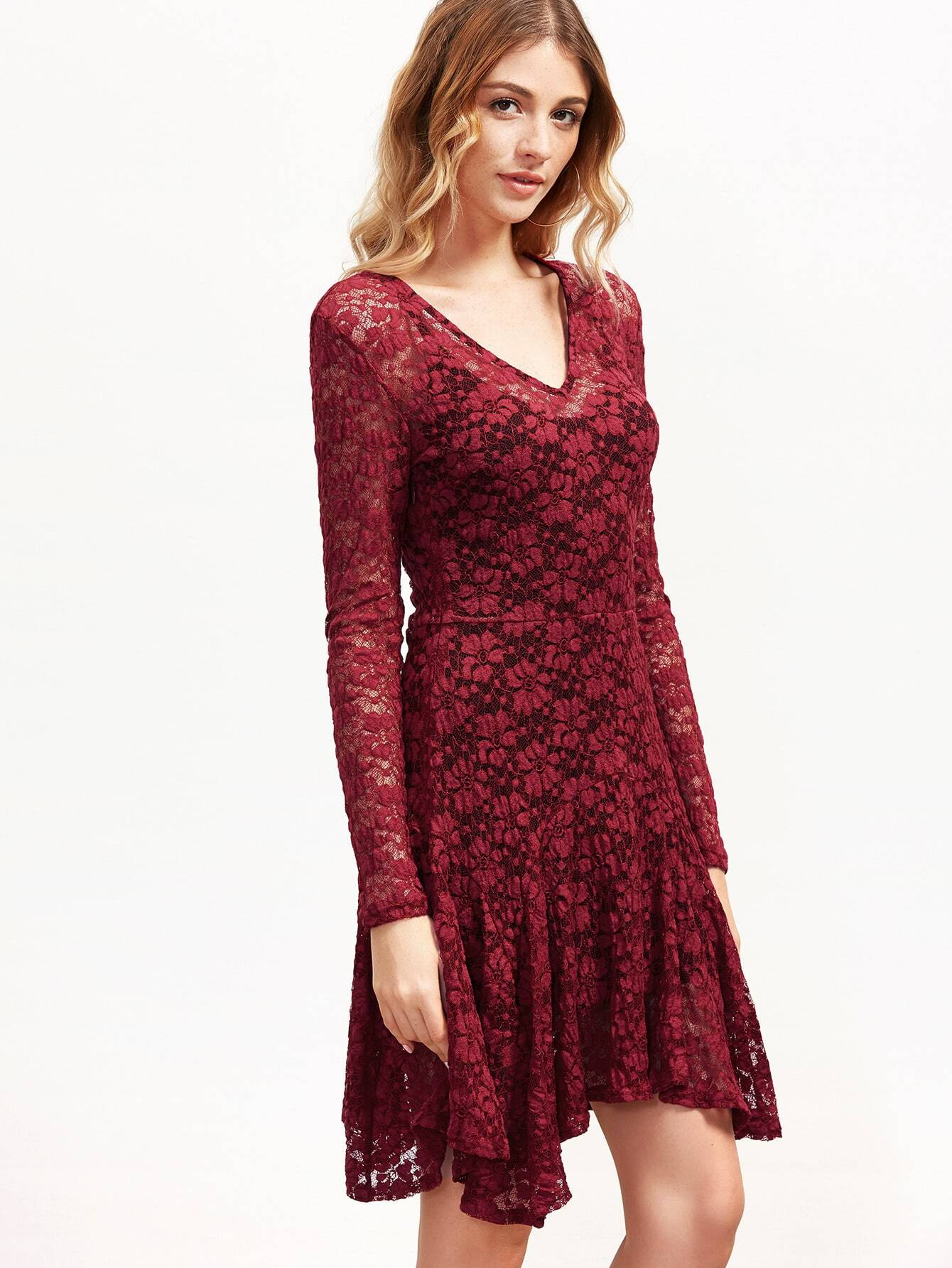 Фото Burgundy Floral Lace Asymmetric Dress With Cami. Купить с доставкой