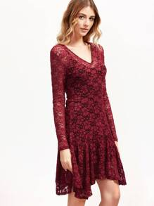 Burgundy Floral Lace Asymmetric Dress With Cami