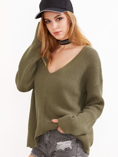 Olive Green V Neck Chevron Knit Dolman Sleeve Sweater