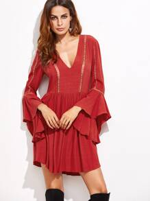 Red Crochet Trim Ruffle Sleeve Dress