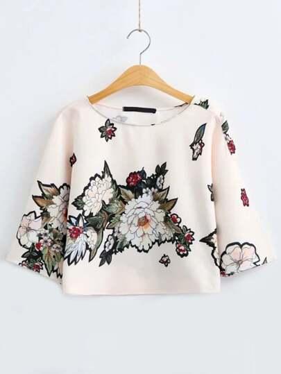 Floral Print Half Sleeve T-Shirt