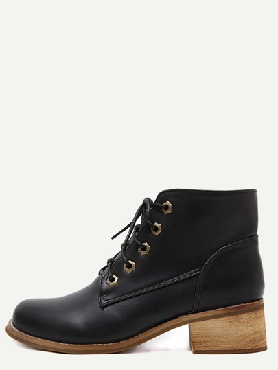 Black Faux Leather Lace Up Cork Heel Short Boots