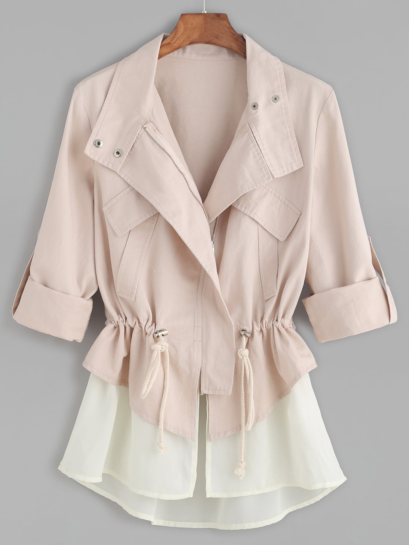 Pink Roll Sleeve Drawstring Jacket With Contrast TrimPink Roll Sleeve Drawstring Jacket With Contrast Trim<br><br>color: White<br>size: M,S,XS