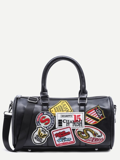 Black Faux Leather Logo Patch Barrel Bag