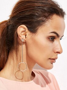 Silver Plated Hollow Circle Asymmetrical Earrings