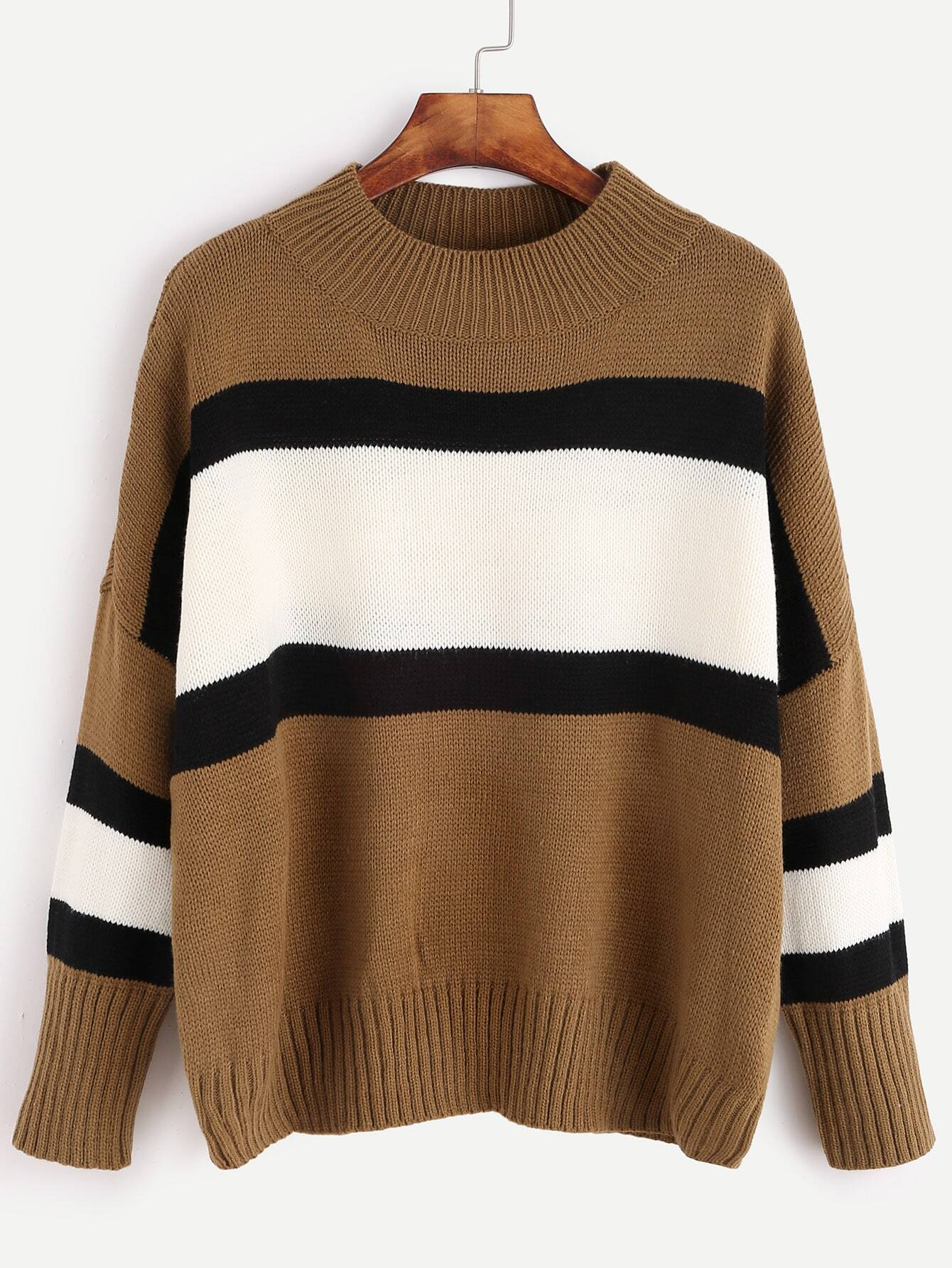 shein colour block sweater