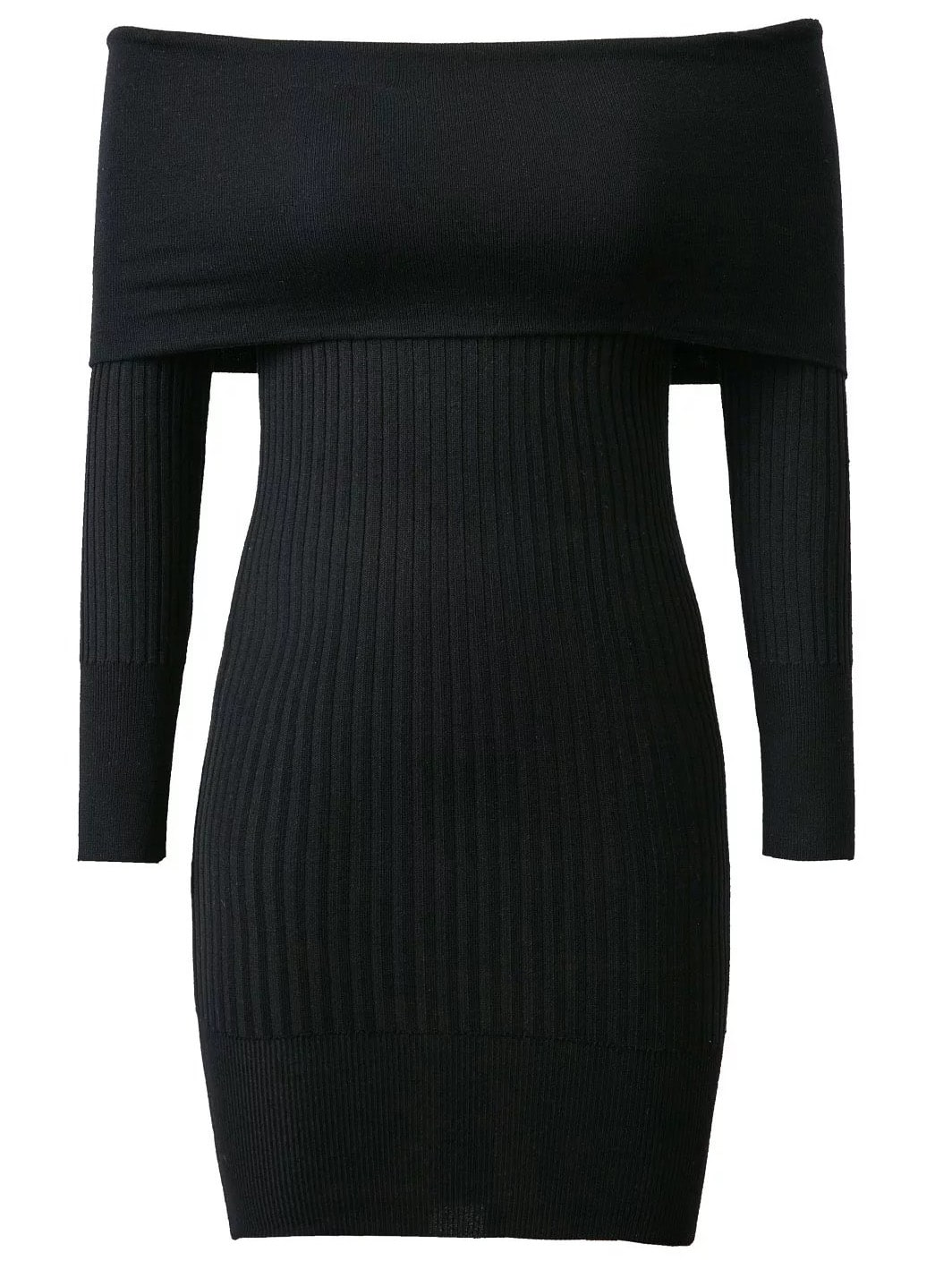 Black Ribbed Off The Shoulder Knit Bodycon Dress dress161028203