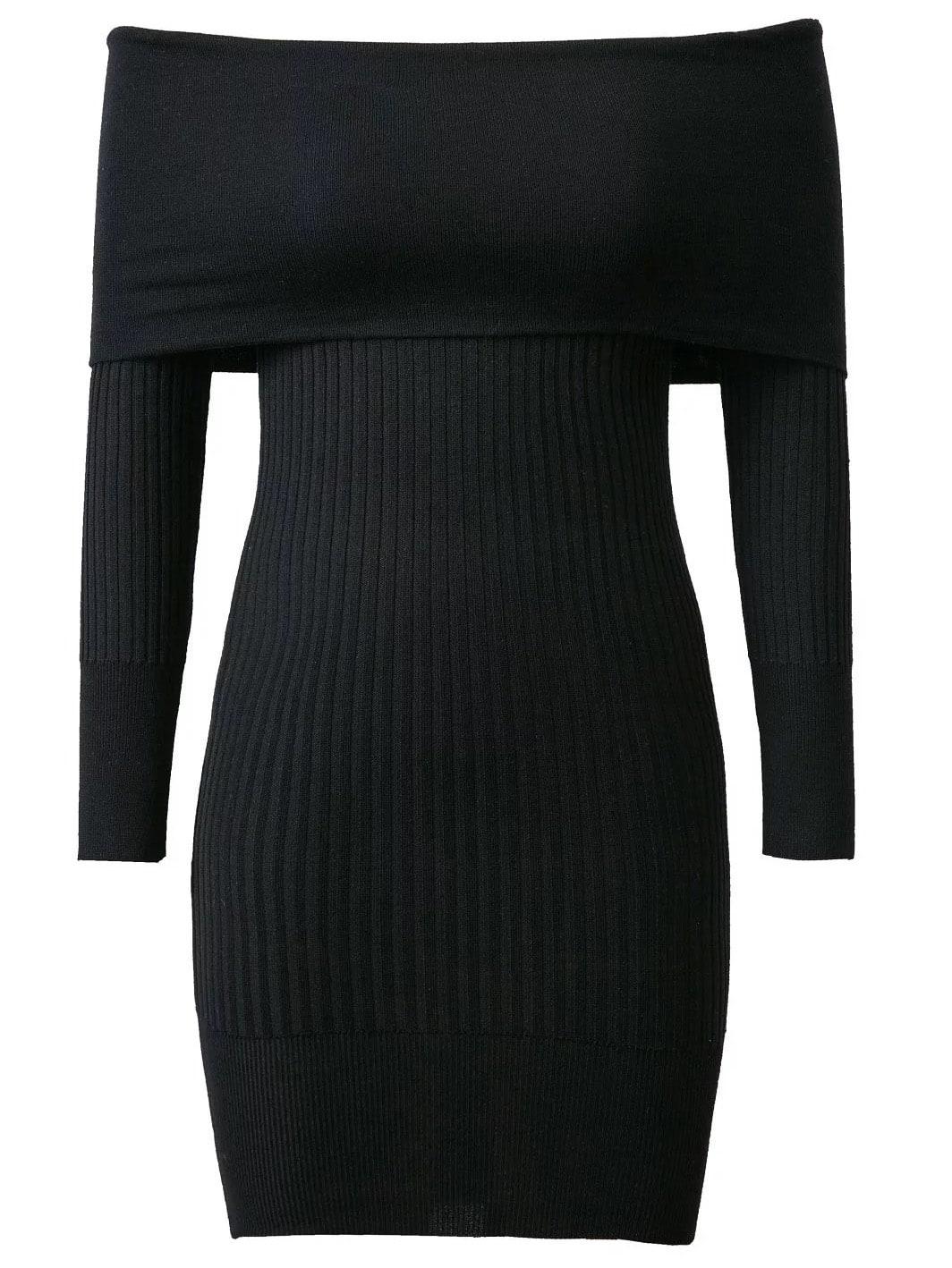 Black Ribbed Off The Shoulder Knit Bodycon Dress dress161028203