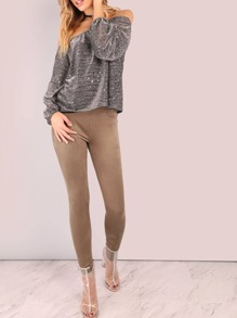 Low Rise Suede Jeggings BROWN