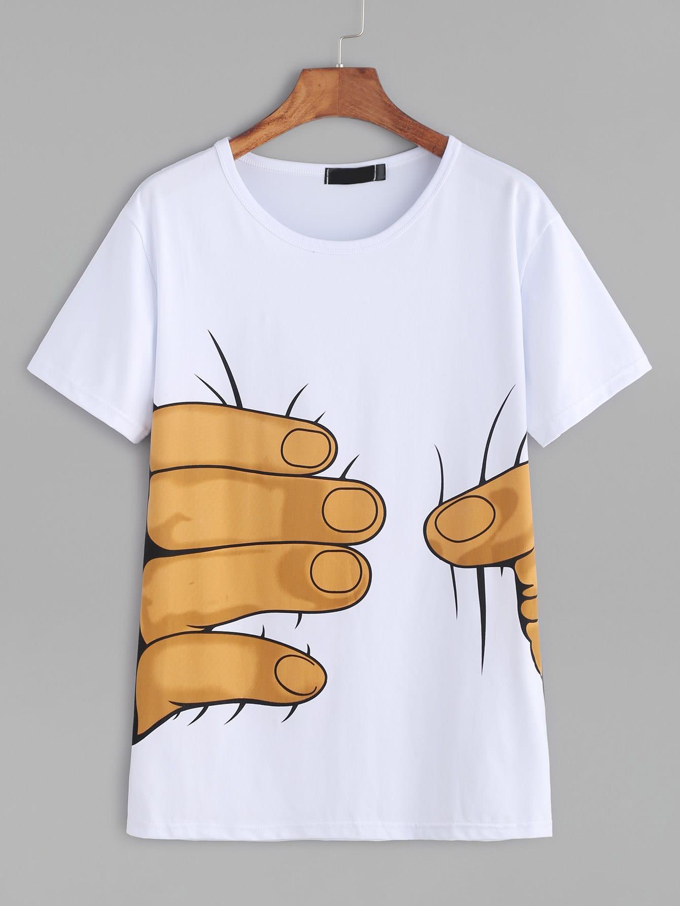 White Hand Print Short Sleeve T-shirtWhite Hand Print Short Sleeve T-shirt<br><br>color: White<br>size: L,M,S,XL,XXL