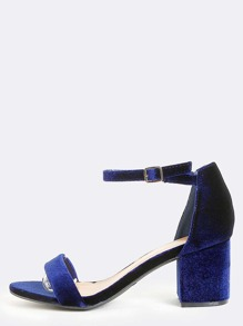 Open Toe Velvet Block Heels NAVY