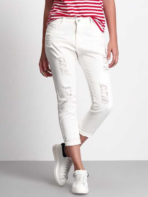Frayed Ripped Capri Jeans, Luiza