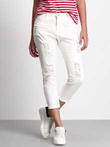 White Ripped Denim Pants