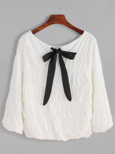 White Bow Tie Neck Crinkle Top
