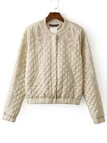 Beige Embroidered Quilted Jacket