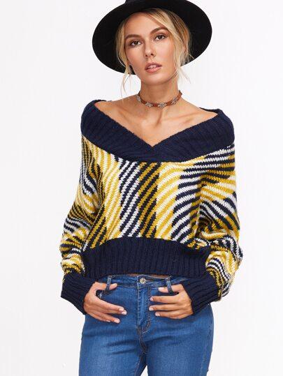 Jersey corto de rayas con cuello en V - multicolor