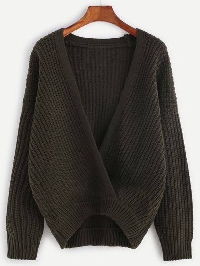 Army Green Drop Shoulder Wrap Sweater