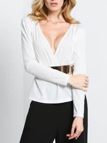 White Long Sleeve V Neck Blouse