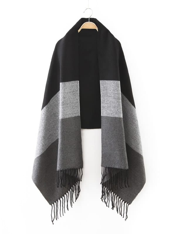 Image of Black Tone Patchwork Fringe Edge Scarf