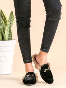 Black Velvet Fur Lined Loafer Slippers