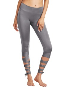 Silver Wide Waistband Tie Up Leggings
