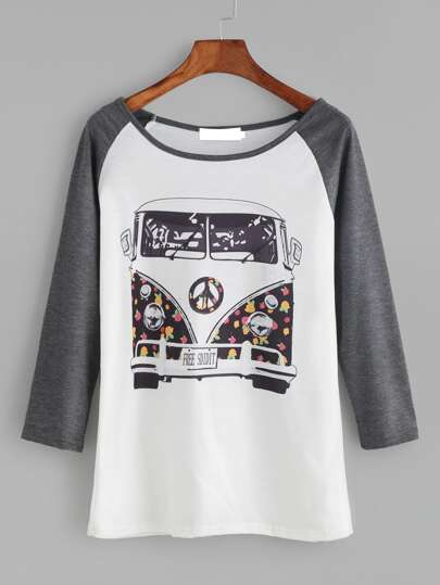 Contrast Raglan Sleeve Cartoon Print T-shirt