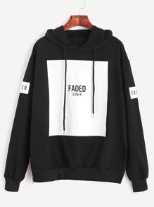 Black Letter Print Drawstring Hooded Sweatshirt With Zip