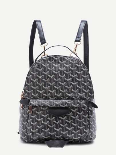 Black Print PU Front Pocket Backpack