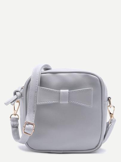 Light Grey Faux Leather Bow Mini Crossbody Bag
