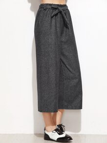 Dark Grey Self Tie Wide Leg Pants
