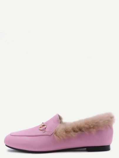 Pink PU Fur Lined Loafers