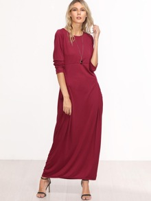 Burgundy Long Sleeve Maxi Dress With Pockets
