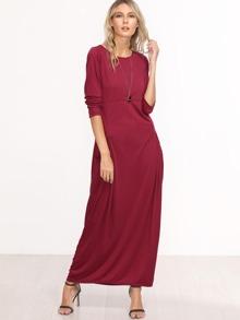 Burgundy Long Sleeve Maxi Dress With Pockets