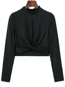 Black Band Collar Overlap Front Crop T-Shirt
